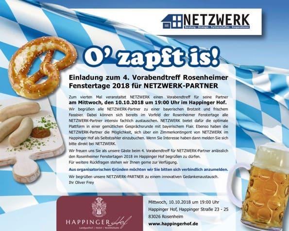 Titel der Einladung zum 4. Vorabendtreff Rosenheimer Fenstertage 2018 für NETZWERK-Partner
