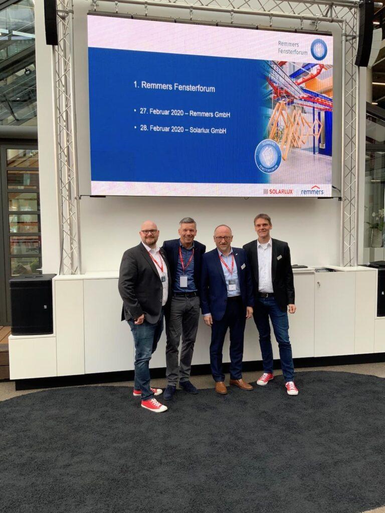 Timo Kolde (SOLARLUX), Oliver Frey (NETZWERK), Martin Stöger (Remmers), Martin Willuweit (SOLARLUX)
