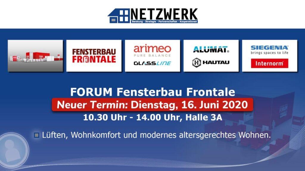 Neuer Termin Forum Fensterbau Frontale