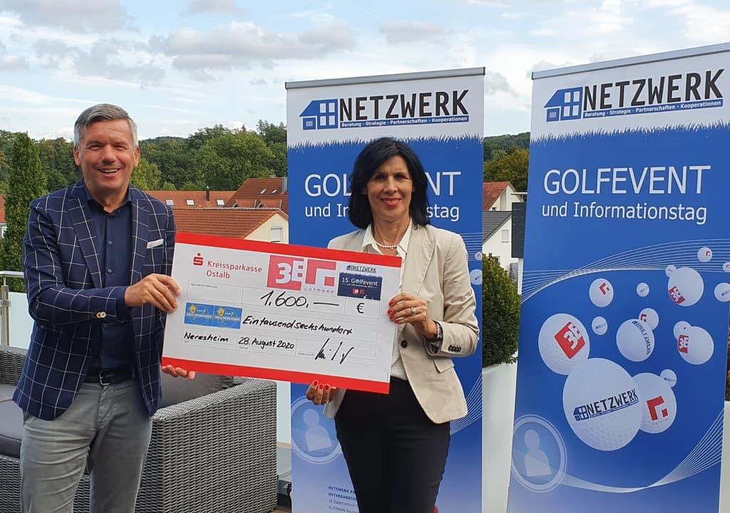 Scheckübergabe zugunsten der Drachenkinder – Spendenaktion 15. Golfevent 2020