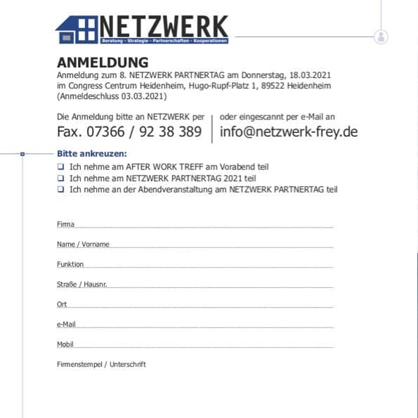 """Titelblatt der PDF """"Anmeldung zum  8. NETZWERK Partnertag 2021"""""""