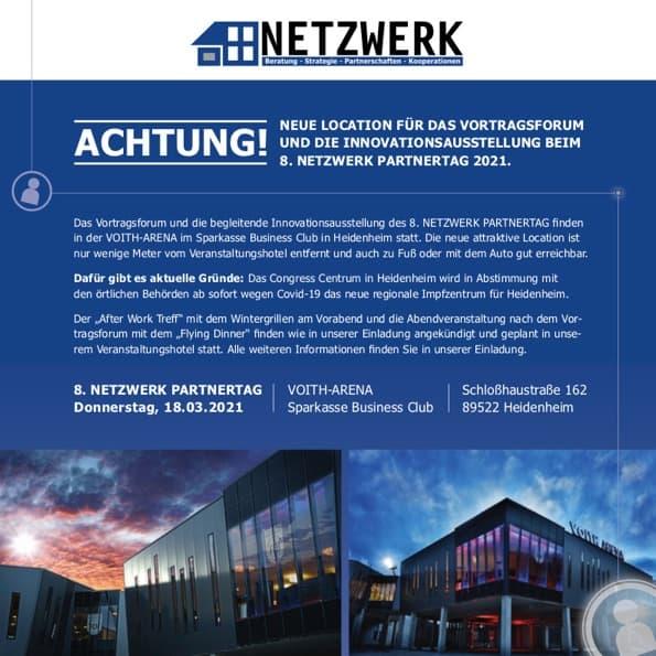 Einleger neue location 8. NETZWERK Partnertag 2021