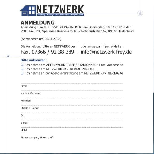 Anmeldung 9. NETZWERK Partnertag 2022